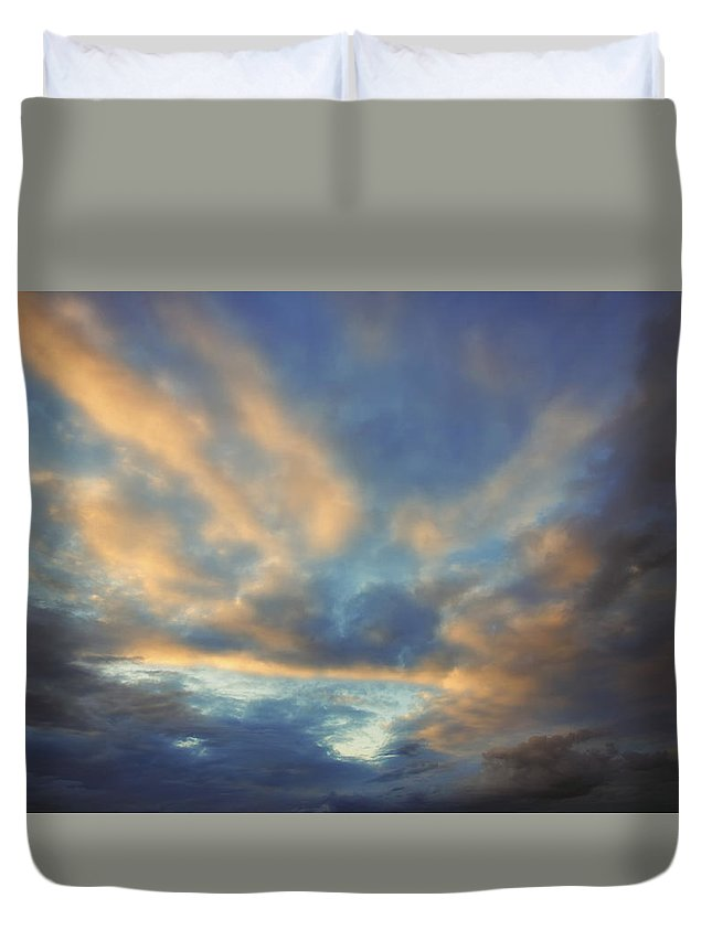 Blue Sky Duvet Cover featuring the photograph Peaceful Sunrise by Ronn Orenstein
