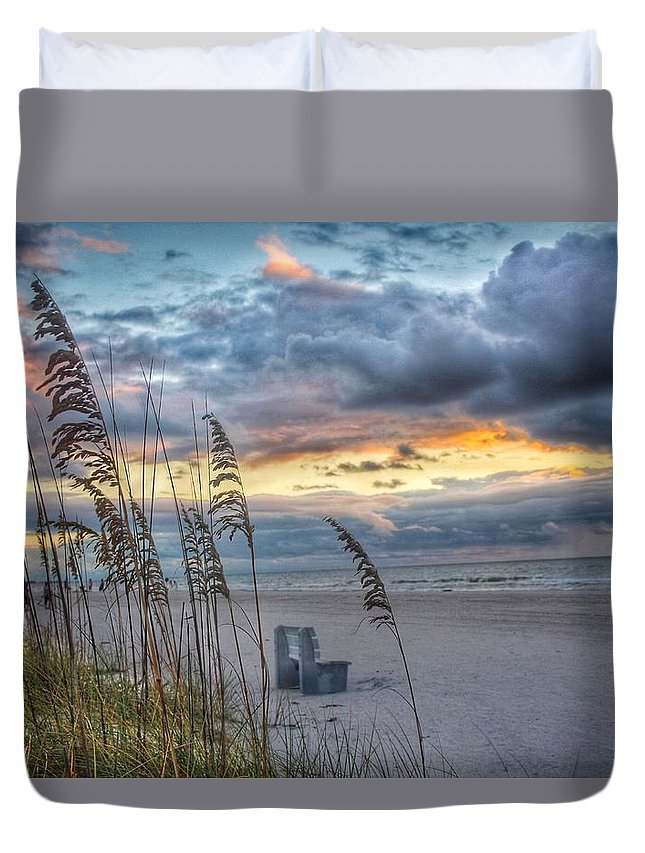 Sunset Duvet Cover featuring the photograph Peaceful Thoughts by Kelly Lang
