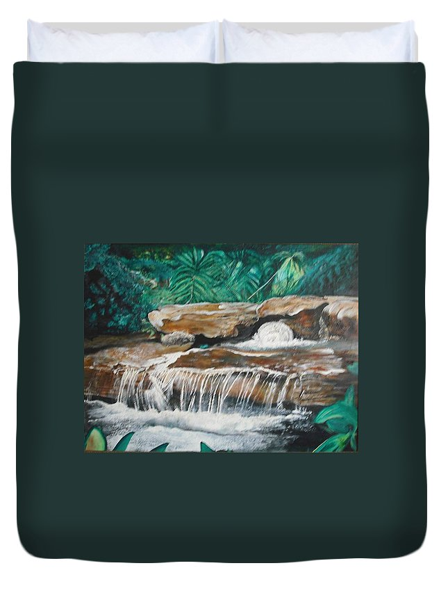 Landscape Duvet Cover featuring the painting Peaceful Waters Flow by Anthony Hurt