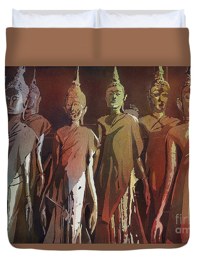 Asia Duvet Cover featuring the painting Peacefully Stacked by Ryan Fox