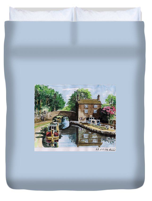 House Duvet Cover featuring the painting Peacfull House On The Lake by Alban Dizdari