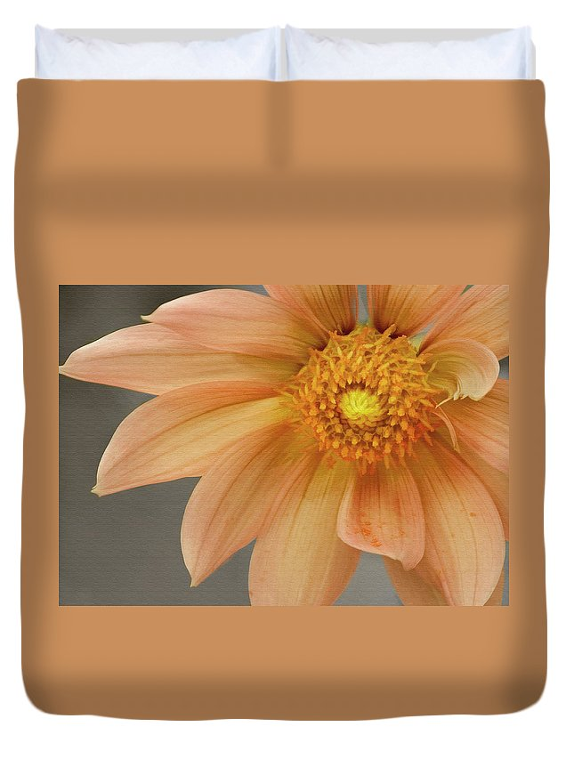 Floral Duvet Cover featuring the photograph Peach Dahlia by Sharon Foster