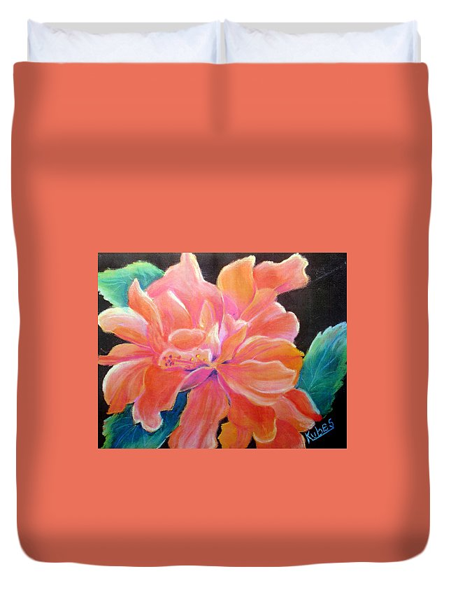 Flower Duvet Cover featuring the pastel Peach Double Hibiscus by Susan Kubes