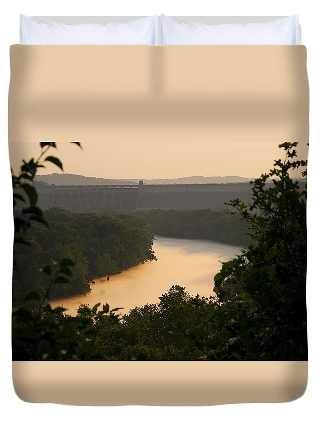 Fog Duvet Cover featuring the photograph Peach fog by Toni Berry