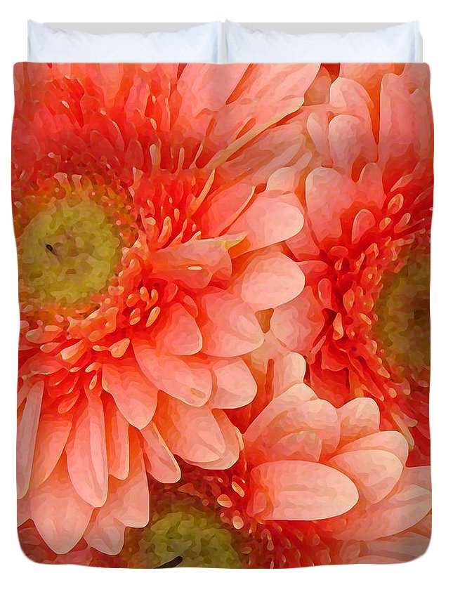 Floral Duvet Cover featuring the painting Peach Gerbers by Amy Vangsgard