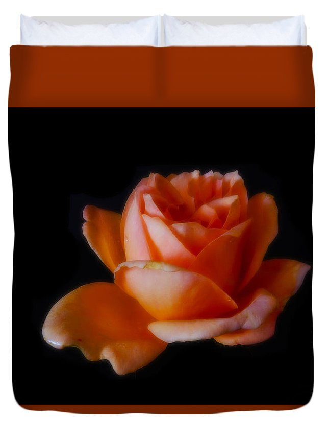 Rose Duvet Cover featuring the photograph Peach Rose by Mark Blauhoefer