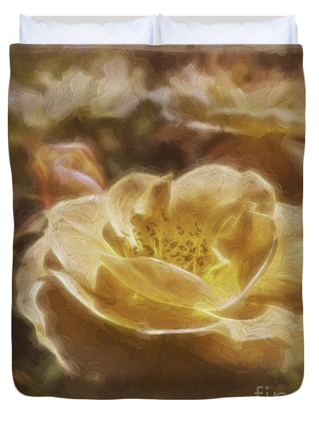 Rose Duvet Cover featuring the photograph Peach Yellow Roses by Jean OKeeffe Macro Abundance Art