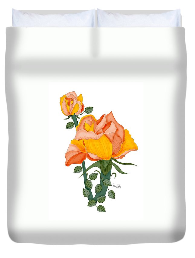 Roses Duvet Cover featuring the painting Peaches And Creme by Anne Norskog