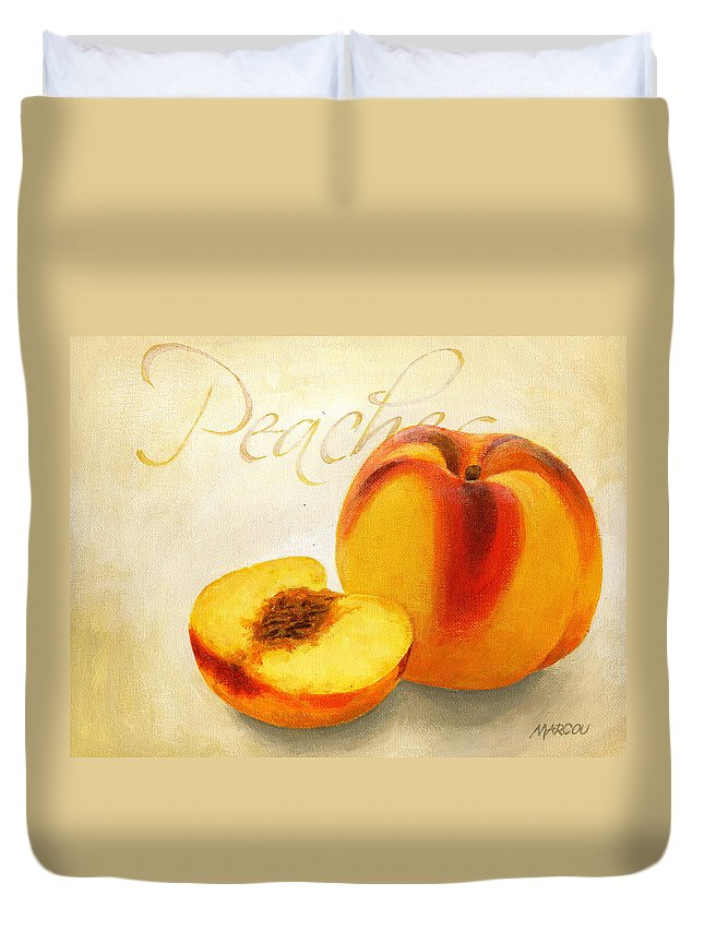 Fruit And Vegetables Duvet Cover featuring the painting Peaches by Joseph Marcou
