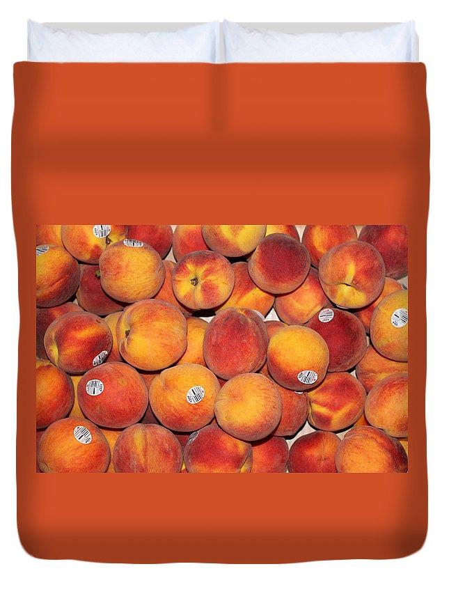 Peach Duvet Cover featuring the photograph Peaches by Lauri Novak