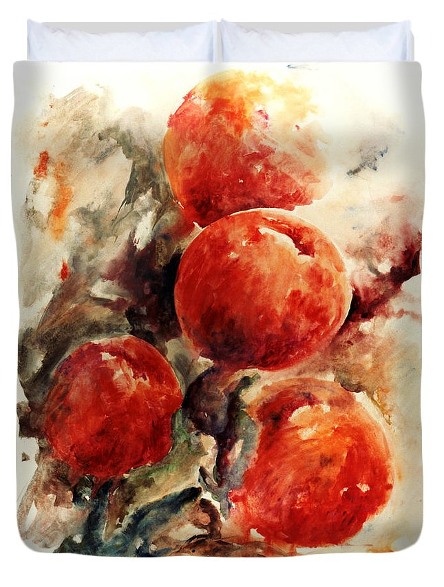 Abstract Duvet Cover featuring the painting Peaches by Rachel Christine Nowicki