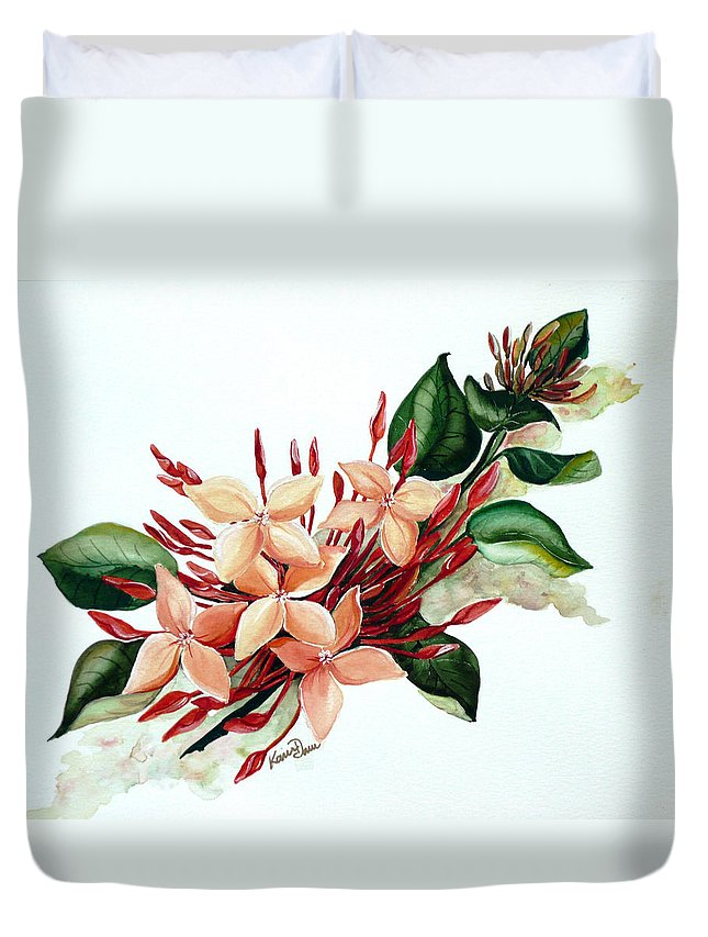 Floral Peach Flower Watercolor Ixora Botanical Bloom Duvet Cover featuring the painting Peachy Ixora by Karin Dawn Kelshall- Best
