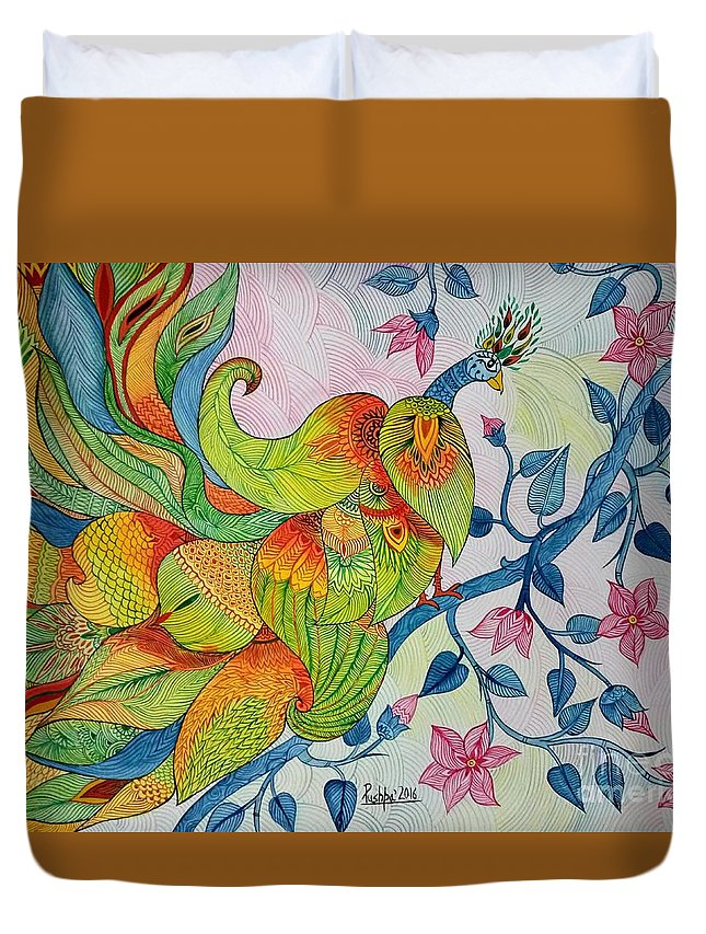 Abstract Painting Duvet Cover featuring the painting Peacock- Abstract by Pushpa Sharma