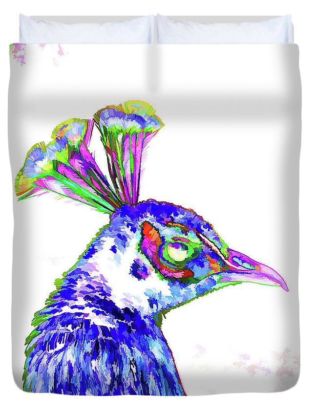 Animal Duvet Cover featuring the painting Peacock Closeup by Jeelan Clark
