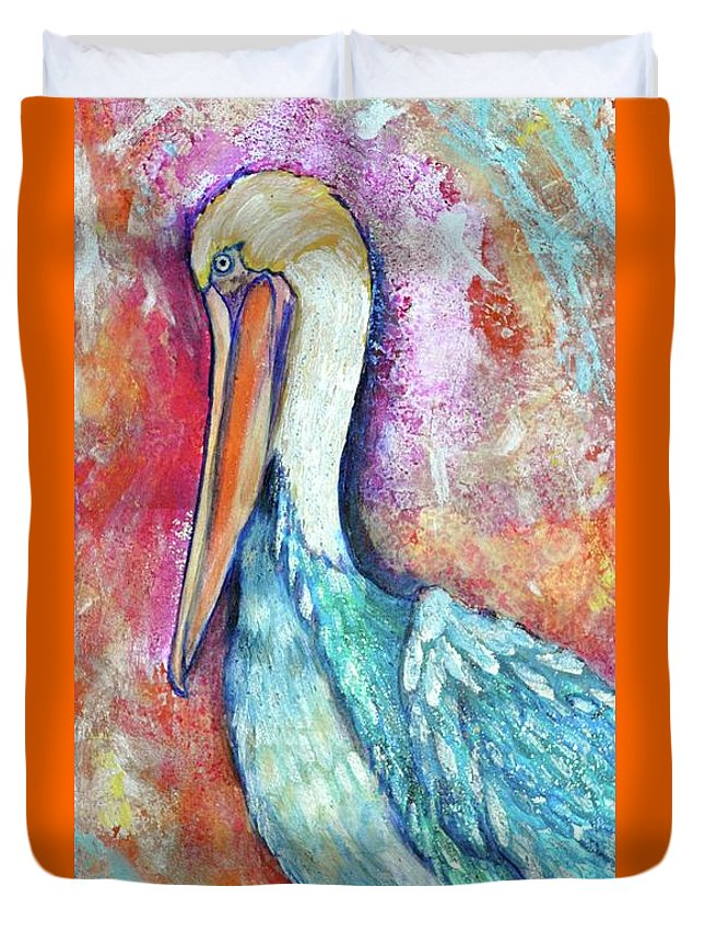 Peacock Envy Duvet Cover featuring the painting Peacock Envy by Debi Starr