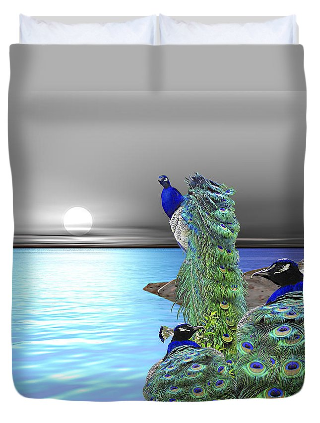 Peacocks Duvet Cover featuring the painting Peacock Fantasy by Susanna Katherine
