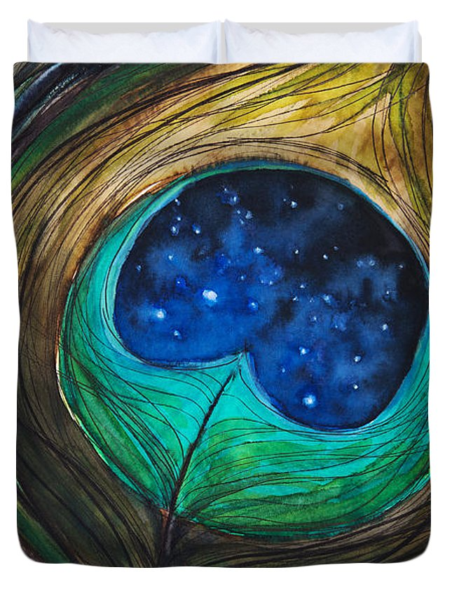 Abstract Duvet Cover featuring the painting Peacock Feather by Tara Thelen