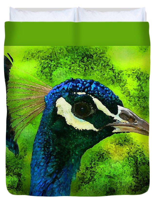 Wildlife Duvet Cover featuring the digital art Peacock by Ilia Skulovich