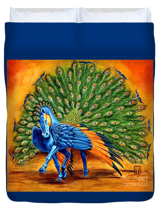 Horse Duvet Cover featuring the painting Peacock Pegasus by Melissa A Benson