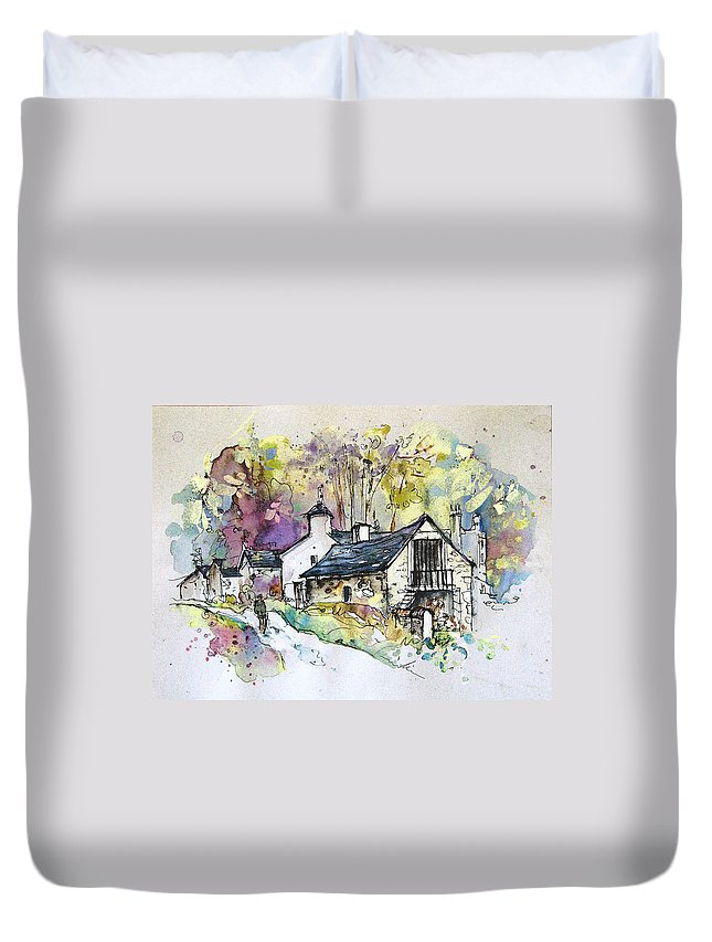 Peak District Duvet Cover featuring the painting Peak District 09 B by Miki De Goodaboom