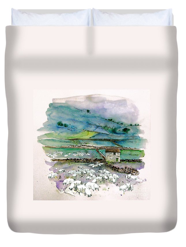 Paintings England Watercolour Travel Sketches Ink Drawings Art Landscape Paintings Town Duvet Cover featuring the painting Peak District Uk Travel Sketch by Miki De Goodaboom