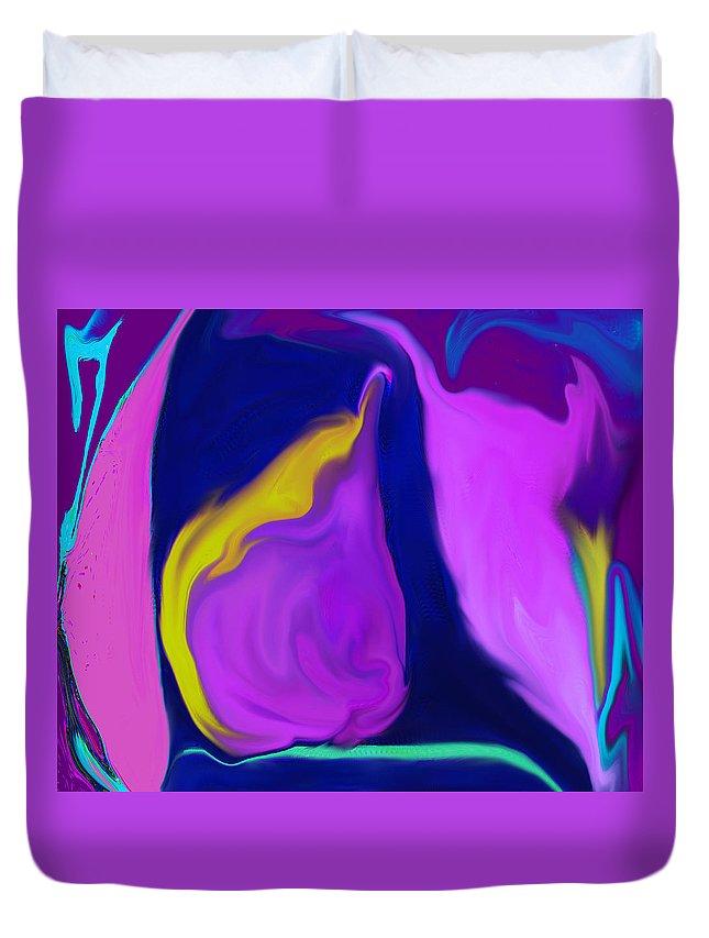 Pear Duvet Cover featuring the digital art Pear At Twilight by Ian MacDonald