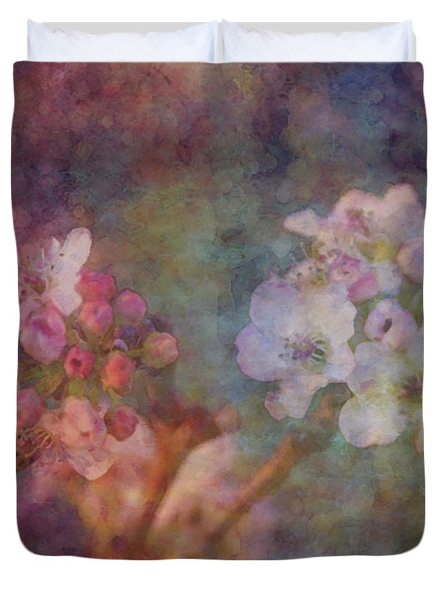 Impressionist Duvet Cover featuring the photograph Pear Blossom Morning Impression 8941 Idp_2 by Steven Ward