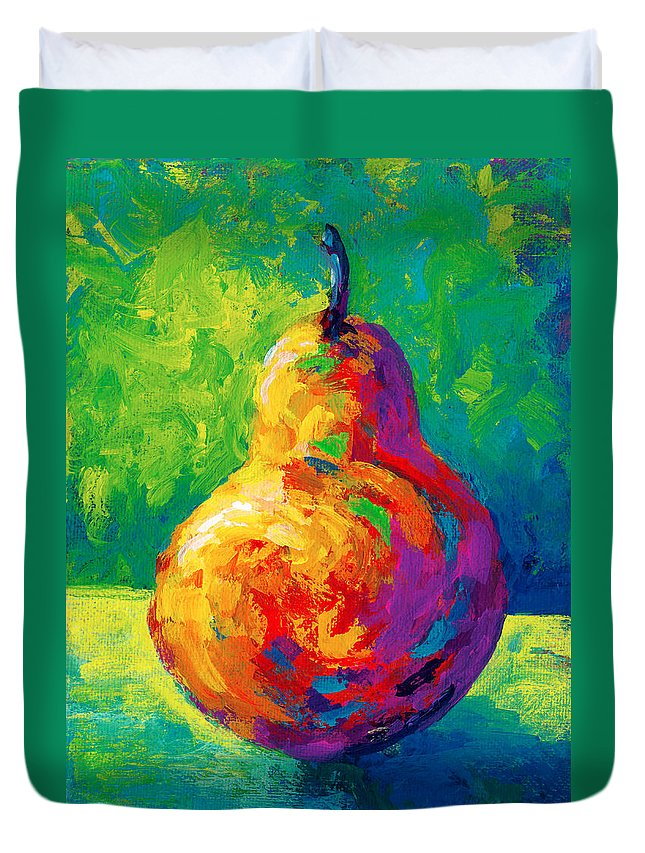 Pear Duvet Cover featuring the painting Pear II by Marion Rose