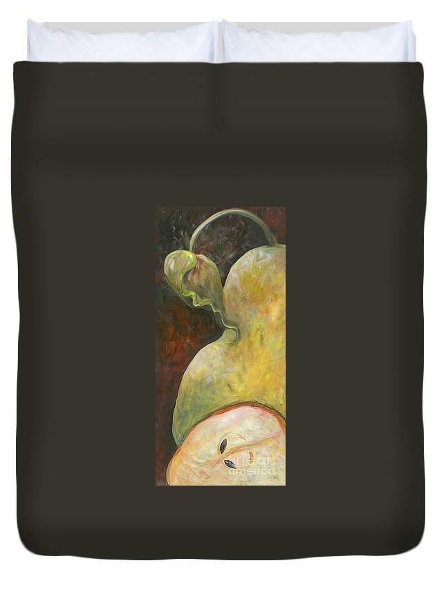 Red Duvet Cover featuring the painting Pear by Nadine Rippelmeyer