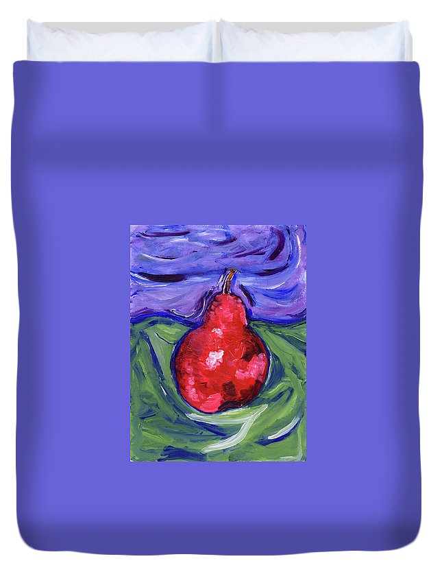 Pear Duvet Cover featuring the painting Pear Portrait by Christopher O'Kelley