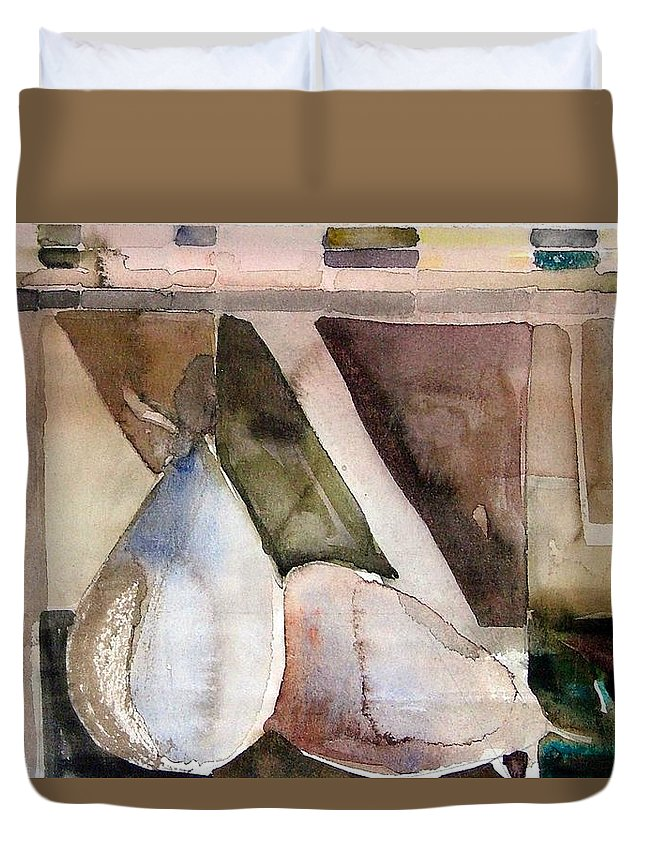 Pear Duvet Cover featuring the painting Pear Study In Watercolor by Mindy Newman