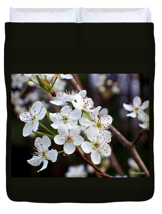 Pear Duvet Cover featuring the photograph Pear Tree Blossoms II by Betty Northcutt