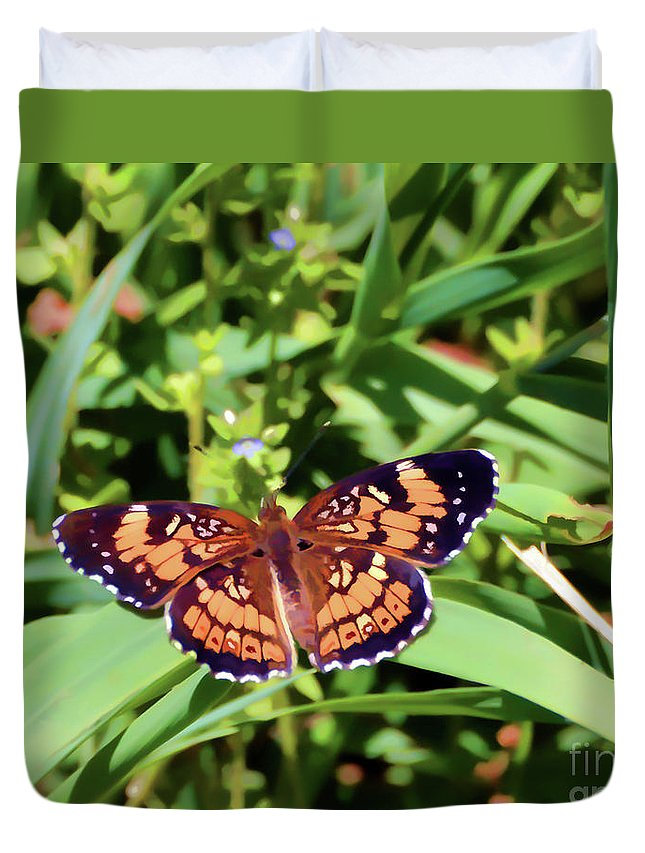 Butterfly Duvet Cover featuring the photograph Pearl Crescent Butterfly by Kerri Farley