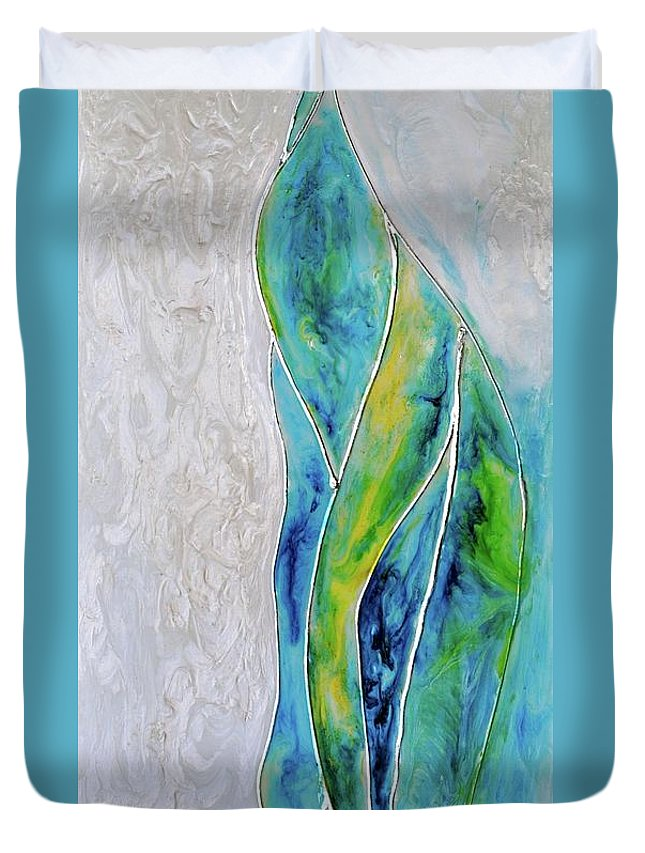 Pearl Falls Duvet Cover featuring the painting Pearl Falls by Debi Starr