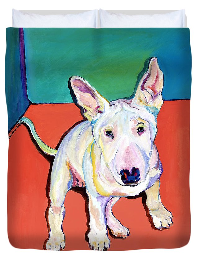 Pet Portrait Commissions Duvet Cover featuring the painting Pearl by Pat Saunders-White