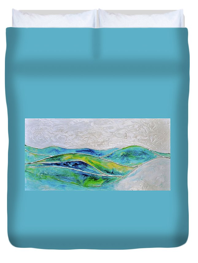 Pearl Sky Duvet Cover featuring the painting Pearl Sky by Debi Starr