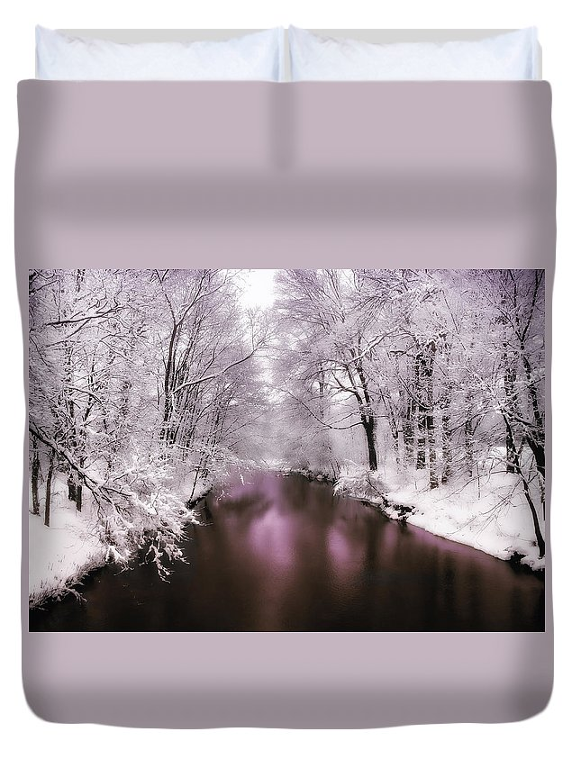 Landscape Duvet Cover featuring the photograph Pearlescent by Jessica Jenney