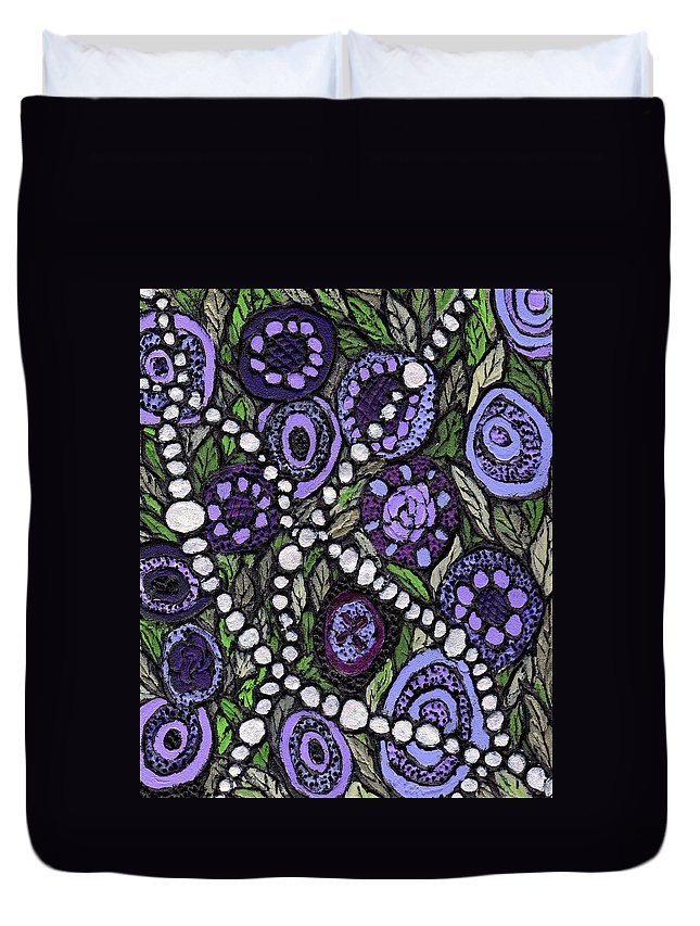 Abstract Duvet Cover featuring the painting Pearls In The Garden by Wayne Potrafka
