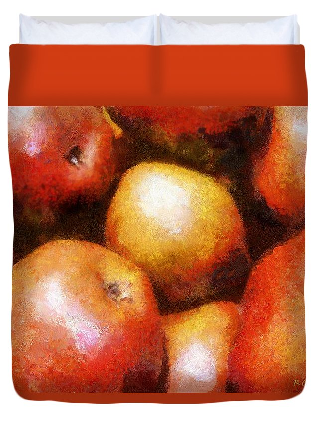 Fruit Duvet Cover featuring the painting Pears D'anjou by RC DeWinter