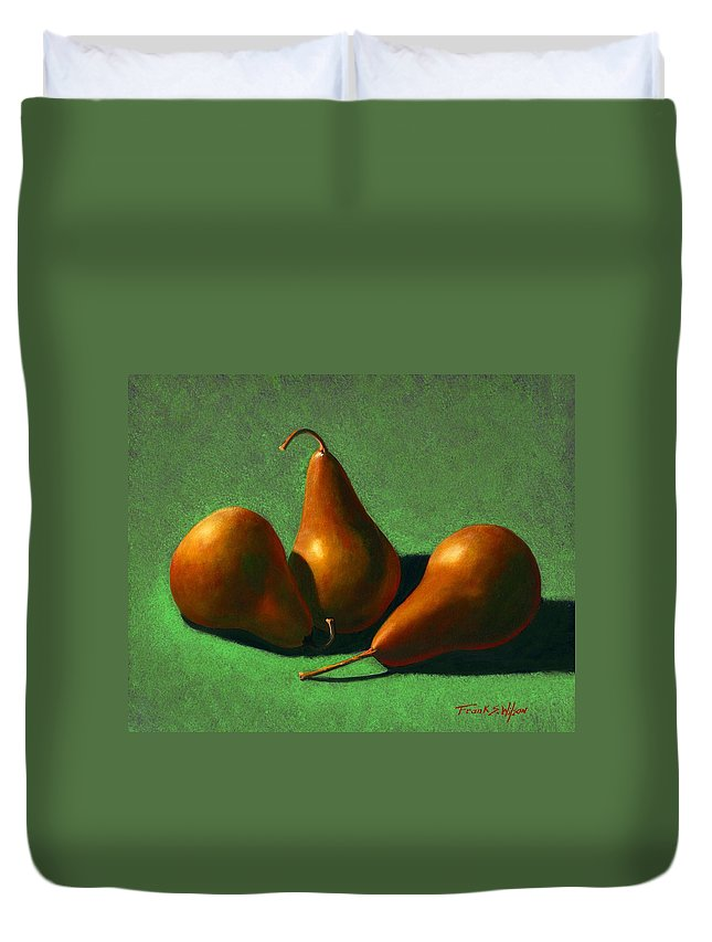 Still Life Duvet Cover featuring the painting Pears by Frank Wilson