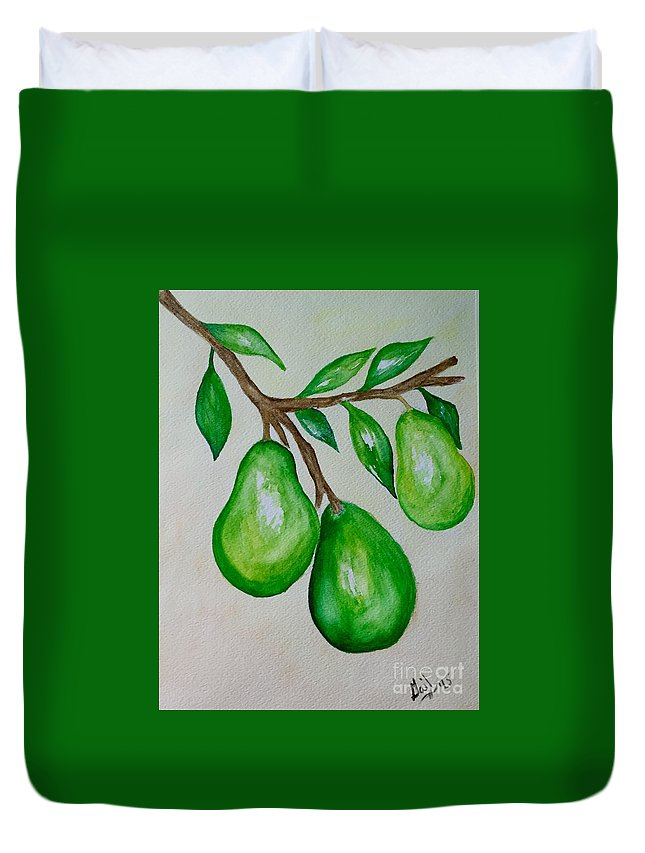 Watercolors Duvet Cover featuring the painting Pears by Gail Nandlal