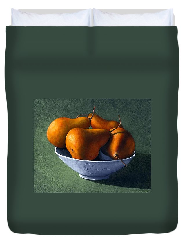 Still Life Duvet Cover featuring the painting Pears In Blue Bowl by Frank Wilson