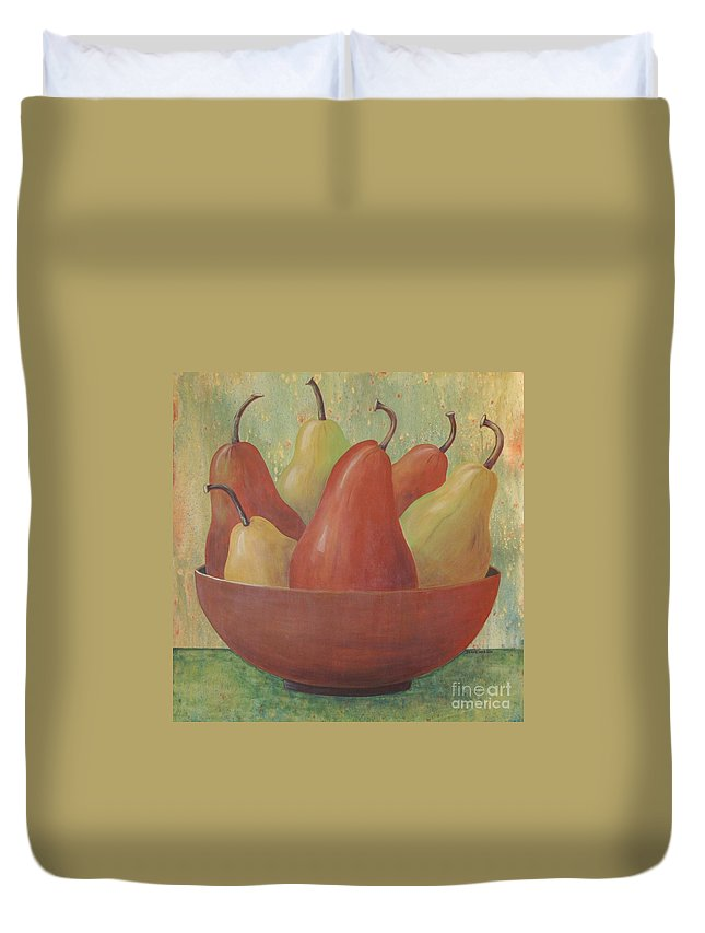 Pears Duvet Cover featuring the painting Pears In Copper Bowl by Jeanie Watson