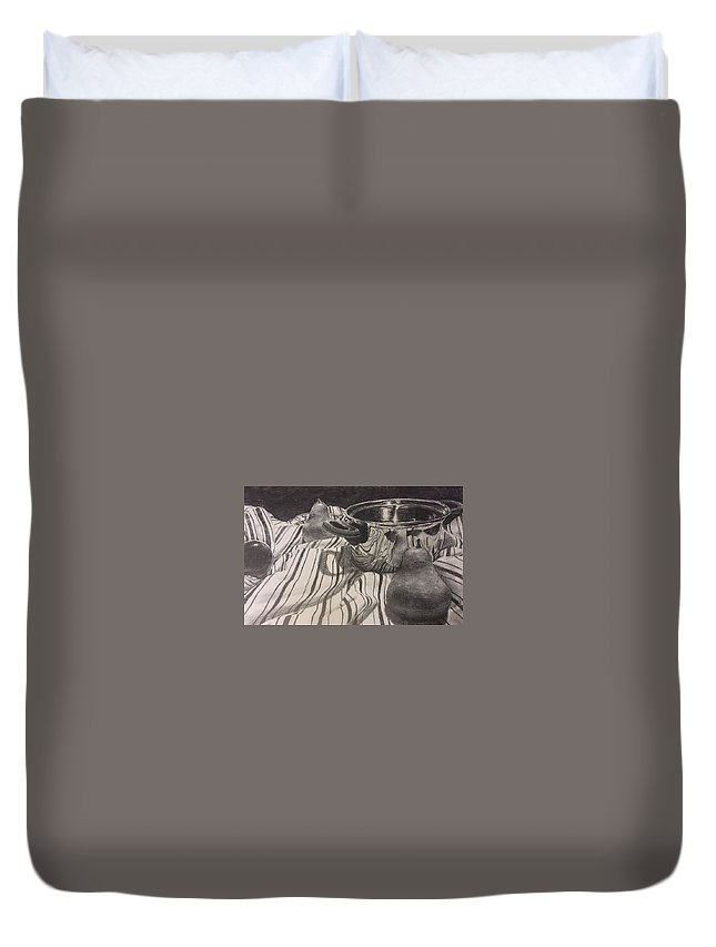 Pears Duvet Cover featuring the drawing Pears by Sage Burks