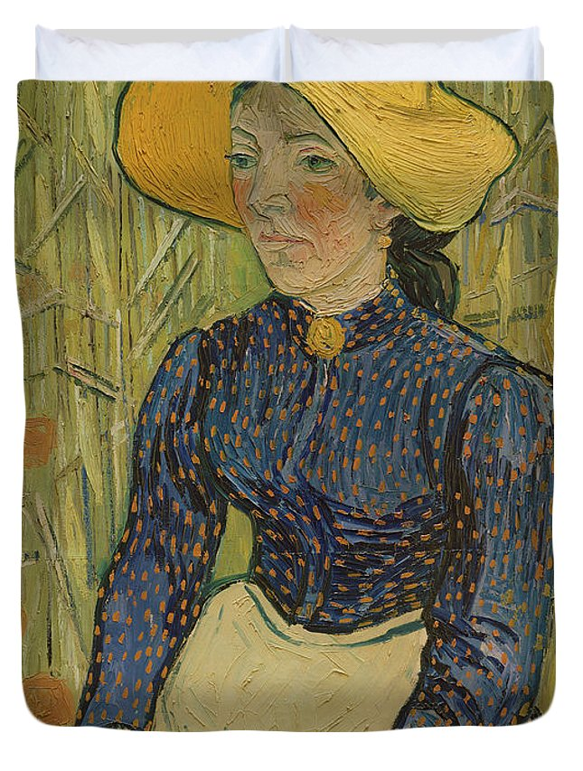 Vincent Van Gogh Duvet Cover featuring the painting Peasant Girl In Straw Hat by Vincent van Gogh