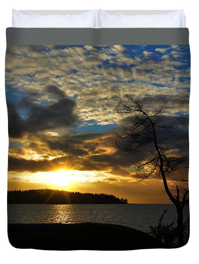 Beach Duvet Cover featuring the photograph Pebbles Beach Sechelt by Elaine Hunter