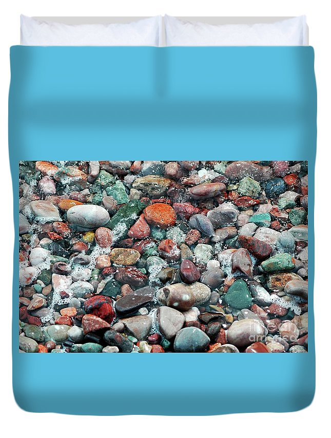 #pebbles Duvet Cover featuring the photograph Pebbles by Kathleen Struckle