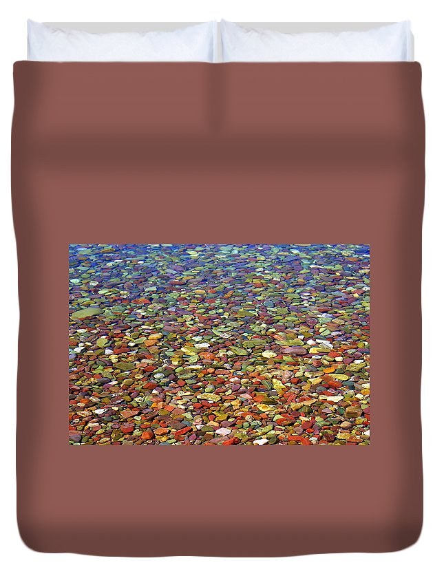 Water Duvet Cover featuring the photograph Pebbles by Marty Koch
