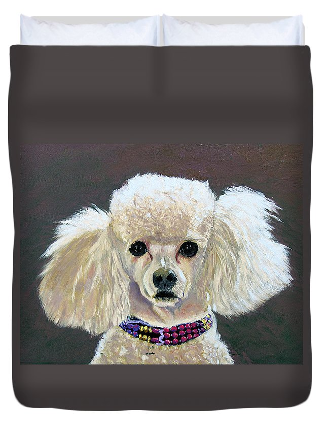 Dog Duvet Cover featuring the painting Pebbles by Stan Hamilton
