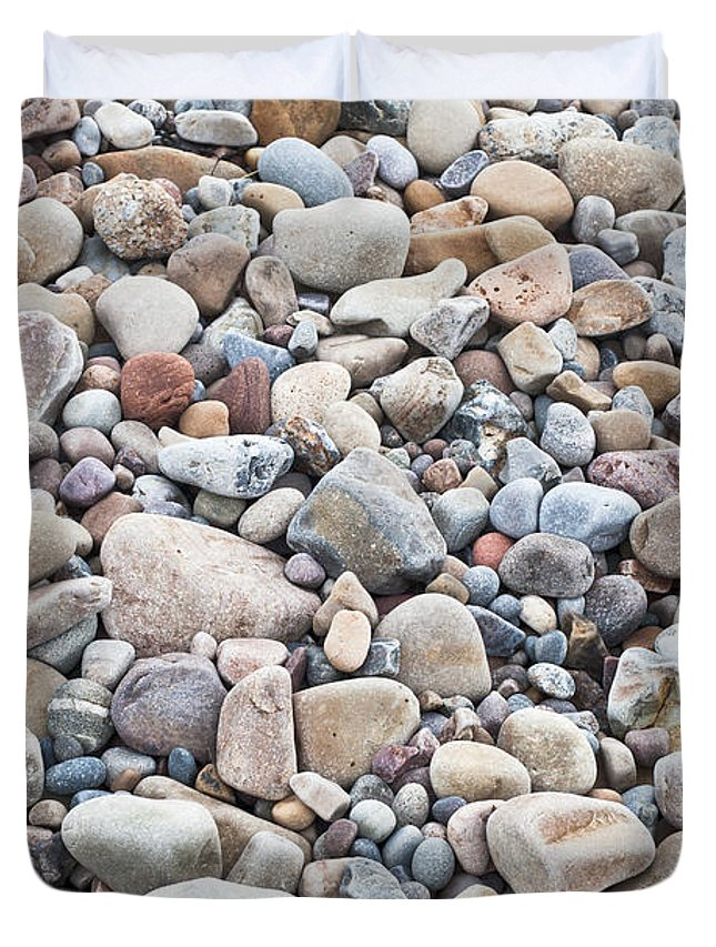 Abstract Duvet Cover featuring the photograph Pebbles by Tom Gowanlock